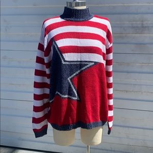 Patriotic red white and blue vintage sweater